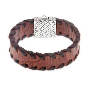 Image Is Loading Brown Leather Bracelet 039 Weaver Mens Sterling