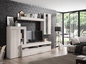 Mueble salon comedor con LED incluidos varios modulos de almacenaje 265x212 cm