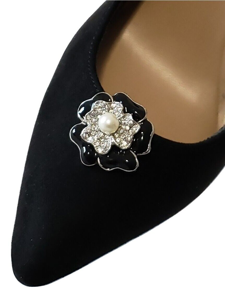 Bridal Wedding Prom Rhinestone Floral Design Black Silver Shoe Clip Jewelry