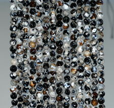4MM  AGATE GEMSTONE ICE BLACK FACETED ROUND LOOSE BEADS 15""