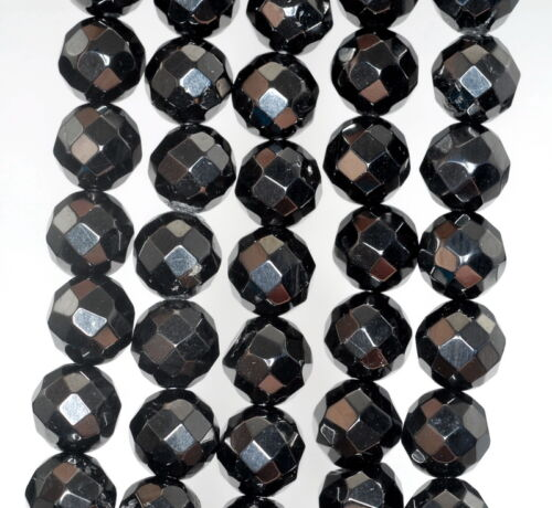 """10MM BLACK JET GEMSTONE FACETED ROUND LOOSE BEADS 16/"""""""