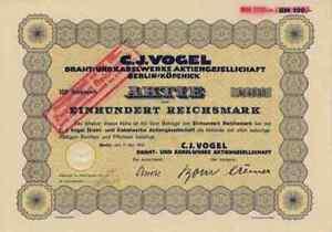 C. J. Oiseau 1932 Fil Qu'ariane Câble Hanovre Vienne Cologne 100 Rm Historique Des Titres-afficher Le Titre D'origine