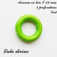 Anneau en bois de 36 mm (XS) avec trous, pour hochet bébé : Vert