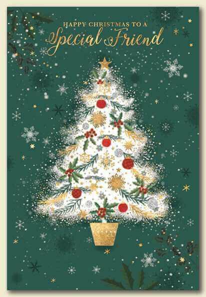 Amigo especial diseño de árbol de Navidad Tarjeta ~ ~ Calidad Tarjeta & buen verso