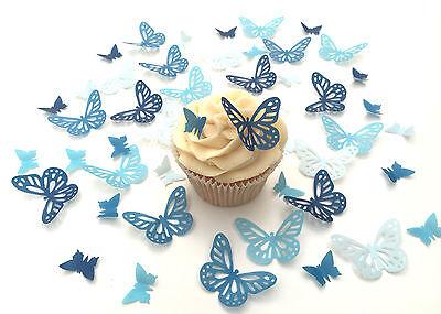 Other Baking Accessories Apprehensive 48 Commestibile Sfumature Di Blu Farfalle Pre-tagliato Wafer Topper Per Cupcake Diversified In Packaging Kitchen, Dining & Bar