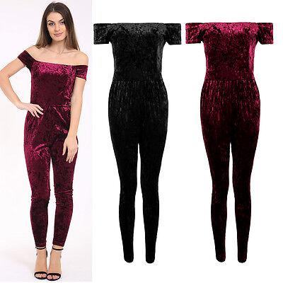 Ladies Crushed Velvet Velour Off Shoulder Stretch Bardot Plain Party Jumpsuit
