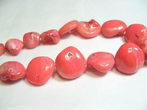 """14/"""" String Dyed Shell Nugget Beads BNNugg09 AB CORAL"""