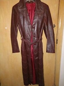 marron femme 12 long souple taille cuir Manteau en mnvN8PwyO0