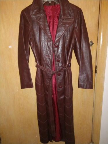 taille souple marron en 12 Manteau long femme cuir PwqARgZF