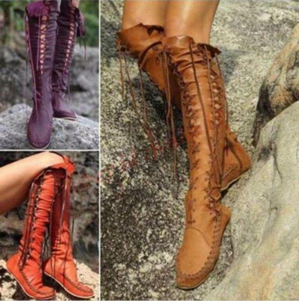 Womens Gladiator Winter Knee High Boots Vogue Shoes Goth Knight Ch 2018 Fashion