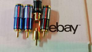 Oberklasse-GOLD-4xCINCH-STECKER-SET-EDEL-schw-blau-lt-8mm-24-KARAT-Referenzklasse