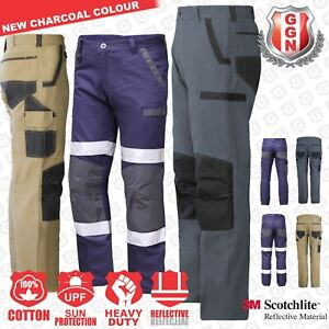 Mens-WORK-CARGO-PANTS-TROUSERS-KNEE-POCKETS-Cotton-Drill-3M-REFLECTIVE-UPF-50