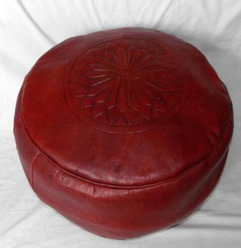 Commerce Équitable En Cuir Rouge Pouffe Repose-Pieds NEW handmade from Marrakech Maroc