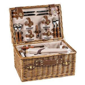 luxus picknickkorb f r 4 personen mit umfangreichem zubeh r ebay. Black Bedroom Furniture Sets. Home Design Ideas
