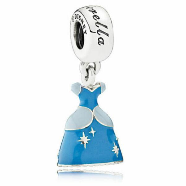 Silver Plated Jewelry Threaded Bead Princess Ballgown Cinderella Dress Charm Blue Enamel Fits Name Brand Charm Bracelets