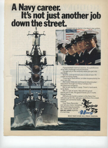 1975 The Spirit of 75 Navy Its Not Just Another Job Down the Street Print Ad