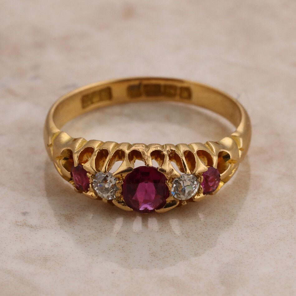 Periodo Periodo Periodo edoardiano 18ct oro GIALLO cinque pietre RUBINO e Anello di Diamanti Misura J 1 2 02f111