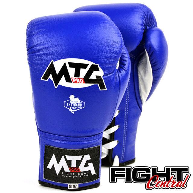MTG Pro Lace Up Up Lace Boxing Gloves - Blau - FREE P&P - Muay Thai, MMA, Boxing d166e1