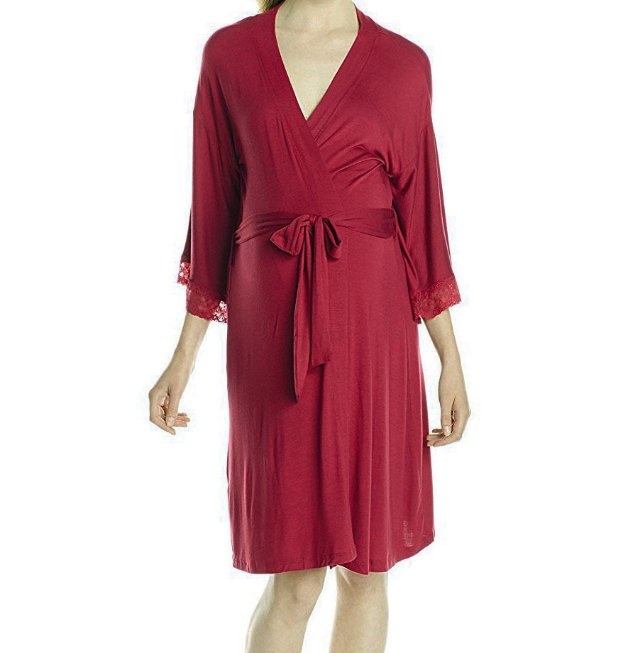 Belabumbum Women's' Eva 3 4 Sleeve Soft Thing Robe, Dark Red Murano, S M