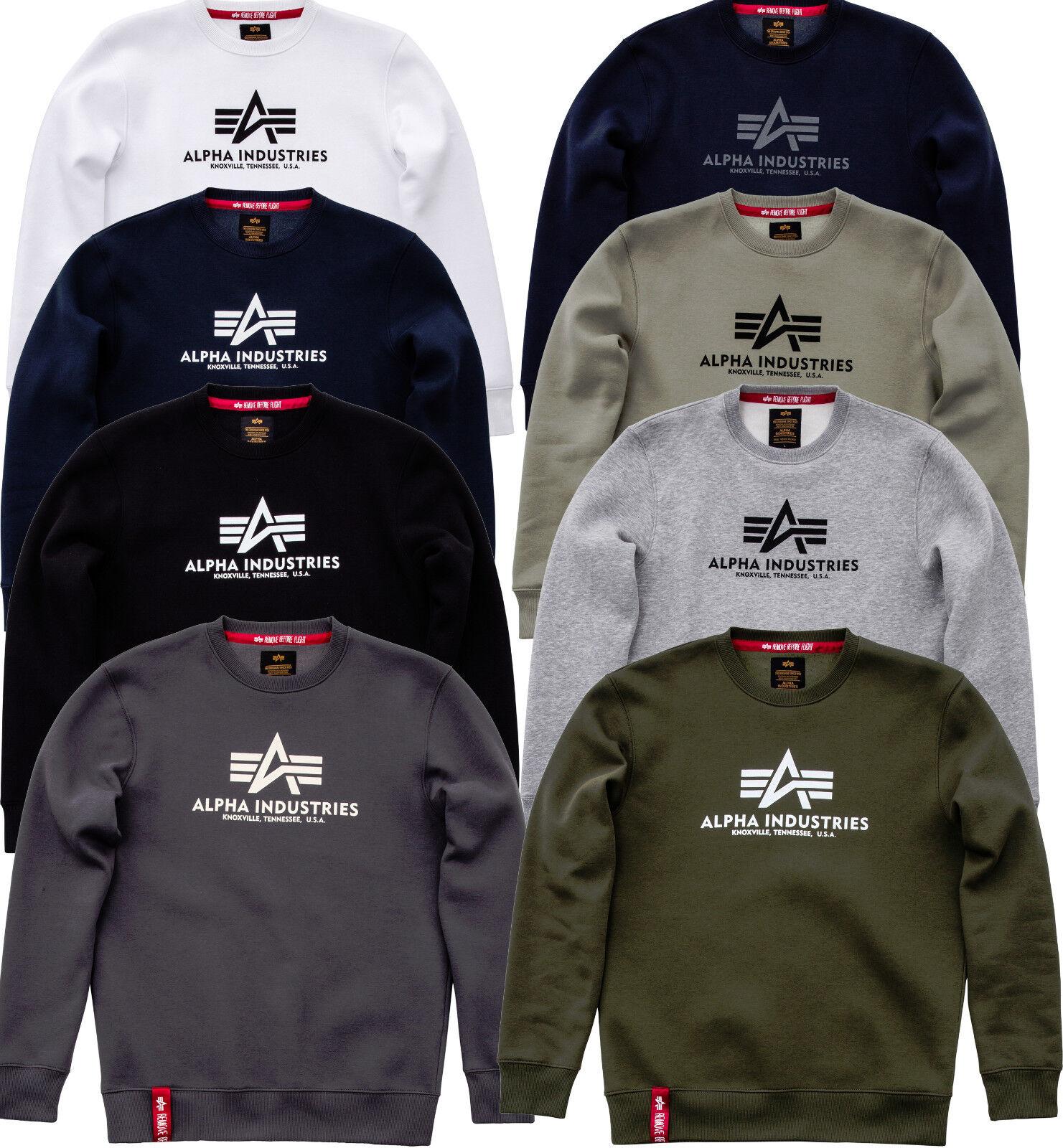Alpha Industries Basic Pullover Sweater nero Navy bianca OLIVE grigio 178302