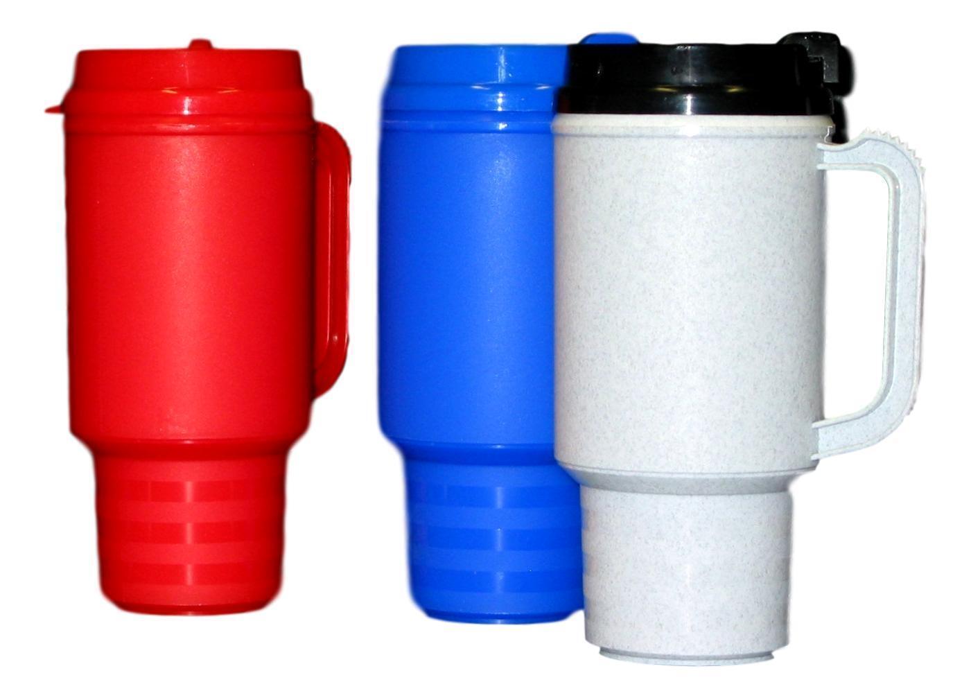 3 Coffee Travel Mugs Holds 18 Oz 1 ea Granite Red & bluee Air Insulated Mfg USA