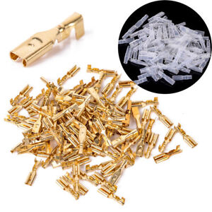 100pcs-2-8mm-Brass-Crimp-Terminal-Female-Spade-Connectors-with-Insulating-Sleeve