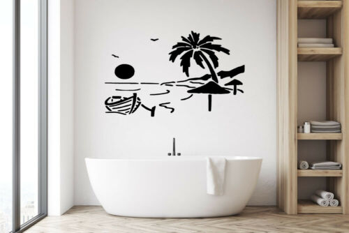 Beach Boat kids Bath room bedroom Wall Art Sticker Vinyl Decals Quotes Transfer