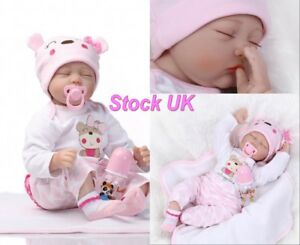Lifelike 22inch Soft Silicone Vinyl Reborn Baby Doll Newborn Girl Toy Xmas Gifts