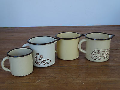 Antiques Lower Price with N5947 Convolute Enamel Milchtöpfe~4 Pieces~ Email Careful Calculation And Strict Budgeting