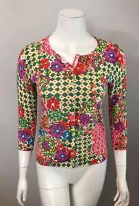 Talbots-Petite-Pink-Yellow-Floral-Cotton-Blend-Cardigan-Sweater-Size-P