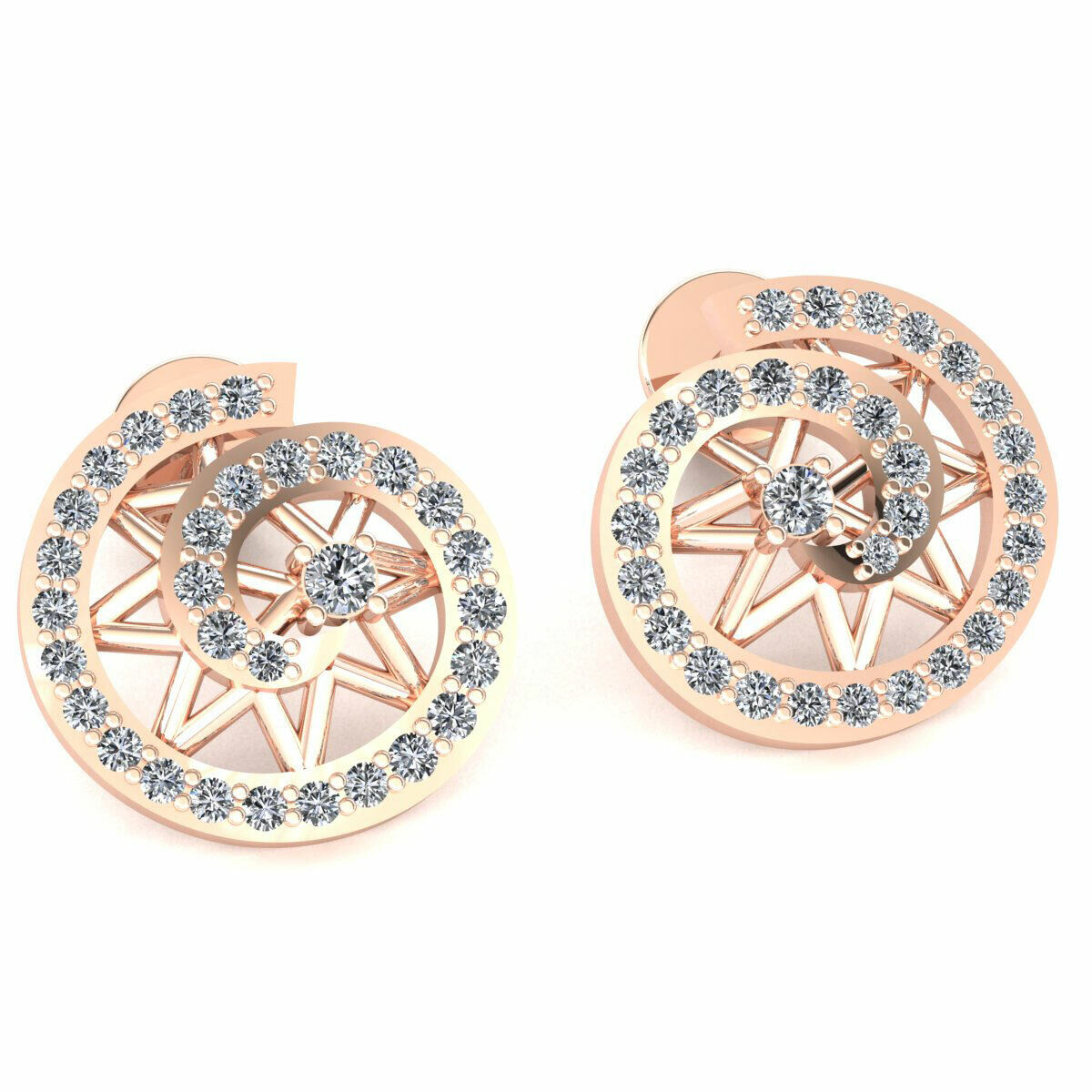 Natural 0.35ct Round Cut Diamond Ladies Swirl Circle Earrings Solid 14K gold