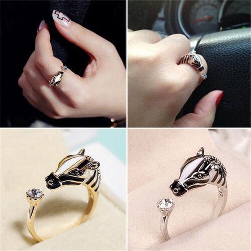Elegant Trendy Animal Rings Horse Head Crystal Women/'s Open Ring Chic Jewelry P0