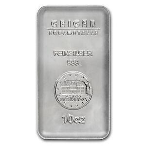 10 Oz Geiger Silver Bar Security Line Series Sku