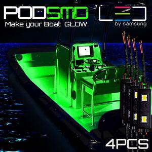 Image is loading Green-4pc-LED-Kit-For-Boat-Marine-Deck-  sc 1 st  eBay & Green 4pc LED Kit For Boat Marine Deck Interior Lighting   eBay