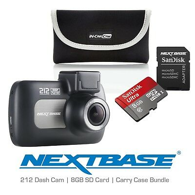 Nextbase 212 Professional Car Dash Dashboard Camera SD Card and Case Bundle