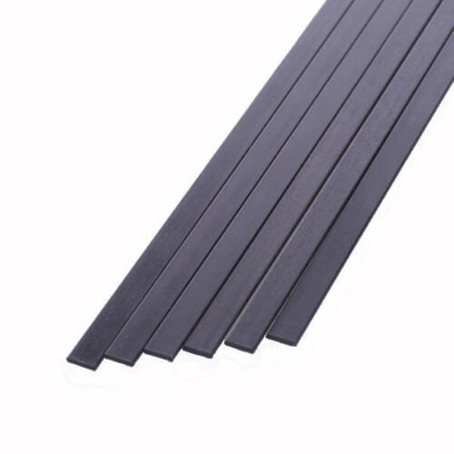 S55 5x 5mm x 0.5mm x 1000mm Pultruded Carbon Fibre Strips