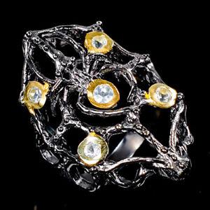 Handmade-SET-Natural-Blue-Topaz-925-Sterling-Silver-Ring-Size-7-5-R97269