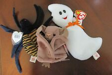 TY Beanie Babies For Halloween  ~ Spooky, Batty & Spinner ~ All New with Tags