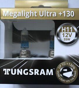 TUNGSRAM MEGALIGHT ULTRA H11 UPGRADE HEADLIGHT BULBS (Twin) 53110XNUB2 PLUS 130%