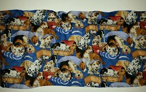 LINED-VALANCE-42X12-PLAYFUL-PUPPIES-DOGS-DOG-IN-BED-TREATS-BONES-LAB-DALMATION
