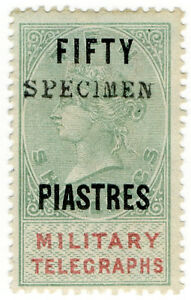 I-B-QV-Telegraphs-Military-Telegraphs-50pi-on-10-OP-Egypt-1887