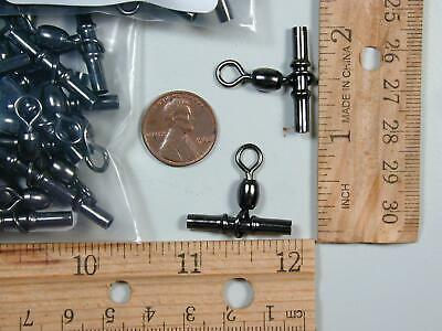 Cross Line Swivels Size 2//0 25 pcs Black Nickel .100 ID 165lb Test New Crimpable