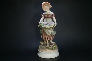 Vintage-Figurine-CAPODIMONTE-Girl-holding-basket-with-flowers-Made-in-Italy