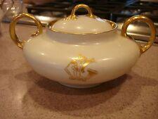 Antique LIMOGES  Sugar Bowl with Gold Leaf Signed LP Patten 1911 SUPER MINT