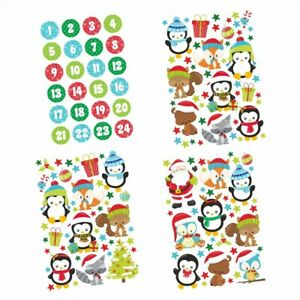24-Adventskalender-Zahlen-Aufkleber-und-Tier-Stickerboegen-Weihnachten-basteln