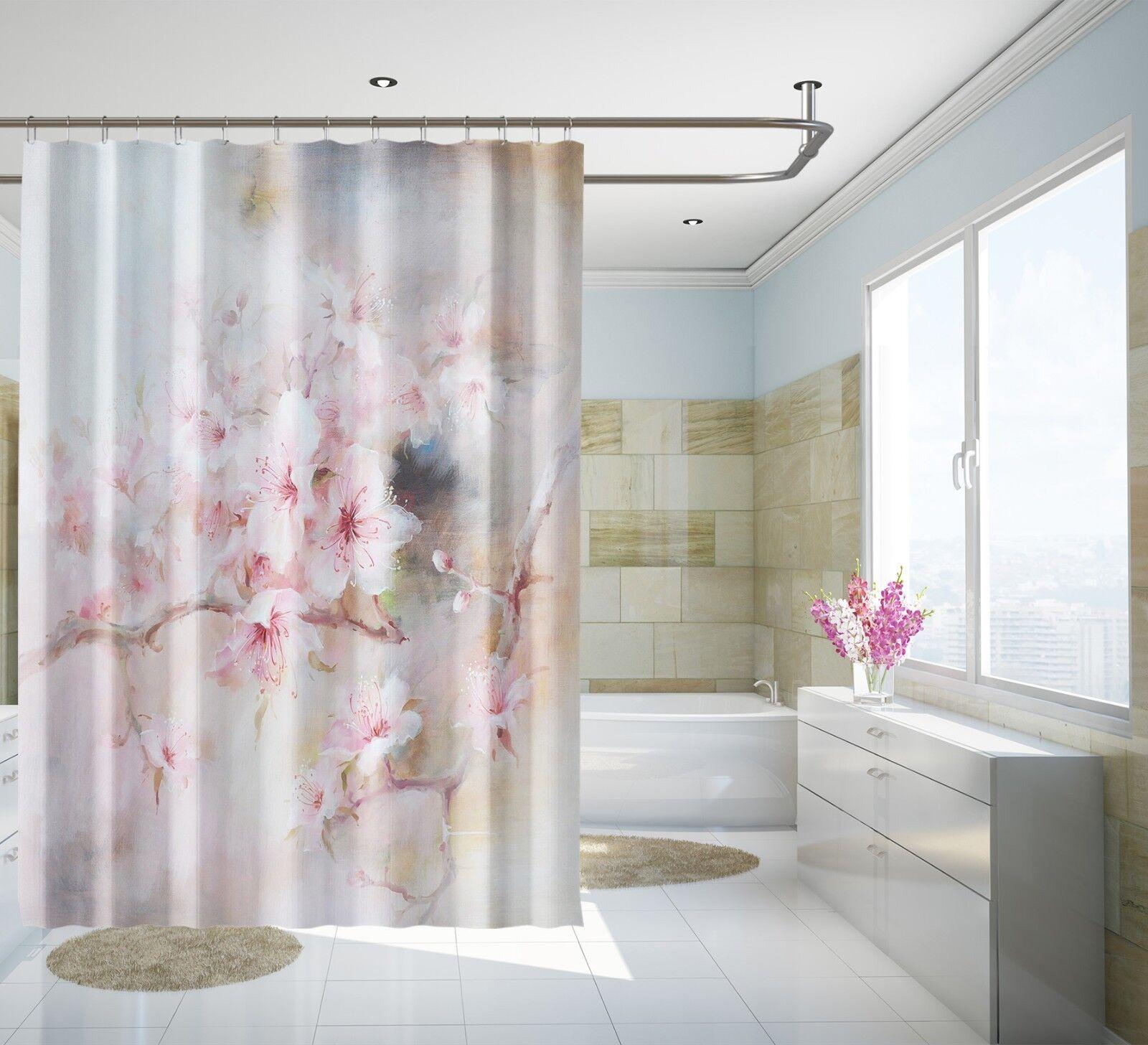 3D Pfirsichblüte 2 Duschvorhang Wasserdicht Faser Bad Daheim Windows Toilette DE | Gute Qualität