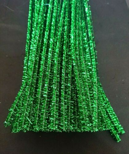 50 x Tubo Verde Oropel metálico Jumbo Craft limpiadores chenilla tallos 30cm X 6mm