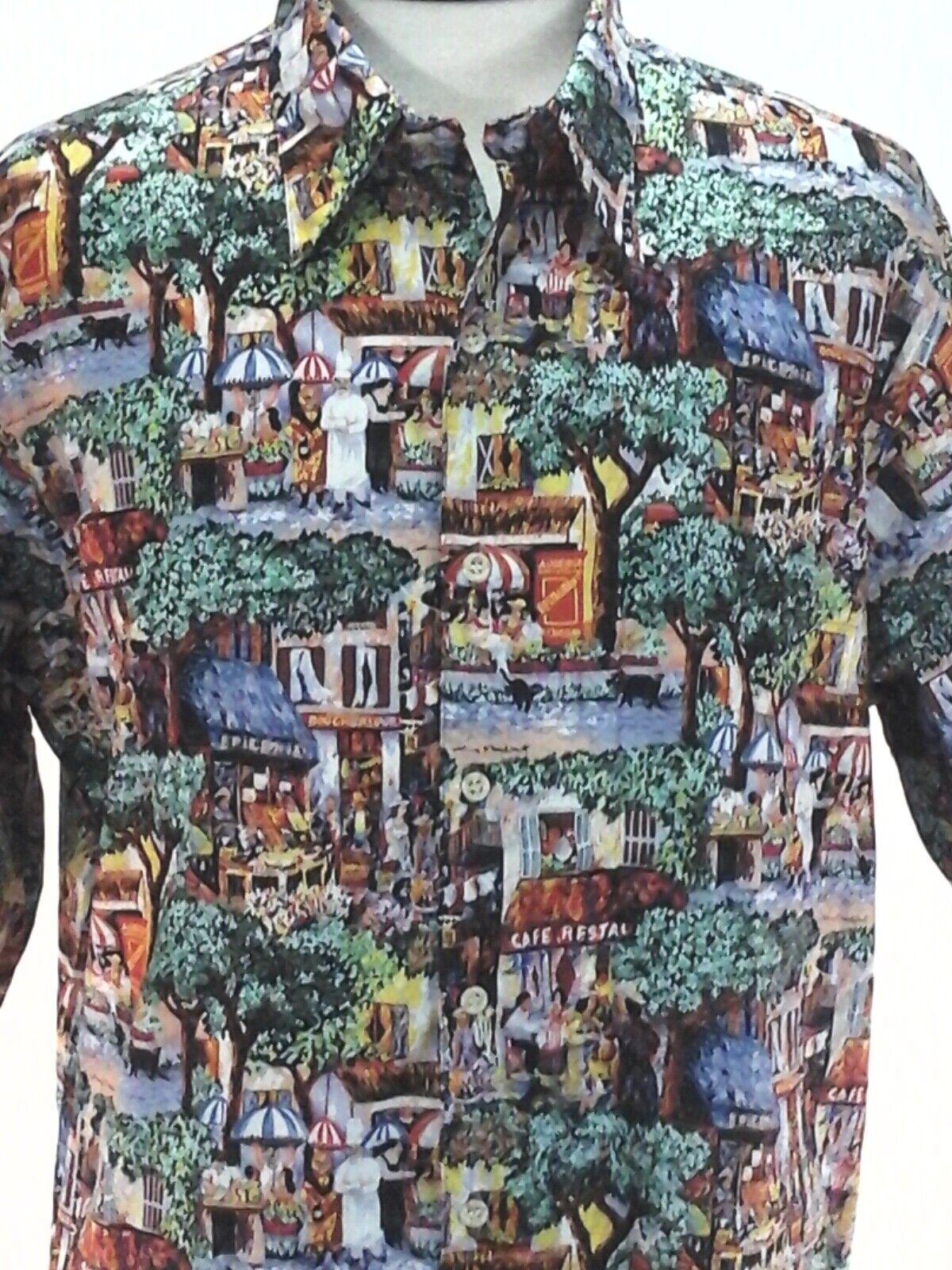 REYN SPOONER Hawaiian Shirt Guy Buffet Paris Cafe Chef VTG Egyptian Cotton sz L