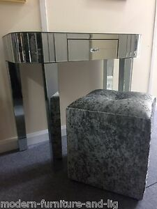 Gorgeous Silver Crushed Velvet Stool With Crystal Silver