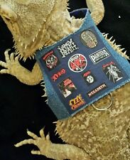 Lil' Bestie Bearded Dragon reptile Harness and Leash HEAVY METAL BATTLE JACKET